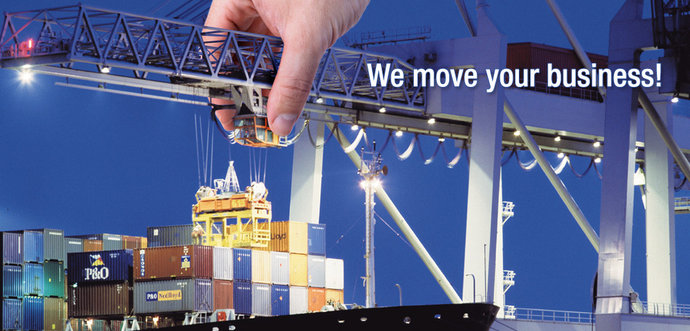 A hand is moving a crab of a STS container crane which is power supplied with a cable festoon system.
