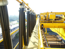 I-beam cable festoon system in use on a process crane
